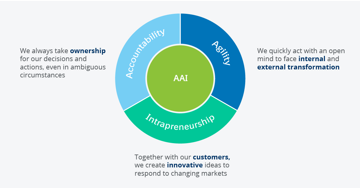 The core of our work is based on strong principles - Accountability, Agility, Intrapreneurship